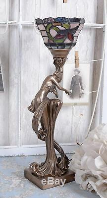 Lampe de table fleurs Art Nouveau style lampe de chevet femme sculpture lampe