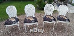 Lot de 4 chaises cannées style Louis XVI