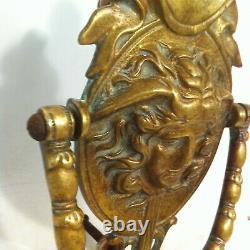 Magnifique Heurtoir De Porte En Bronze Decor Faune Style Art Nouveau