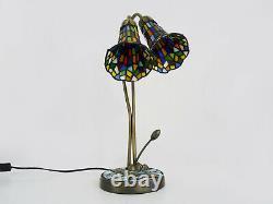 Magnifique lampe Tiffany libellule à deux branches, 2 tulipes, style art déco