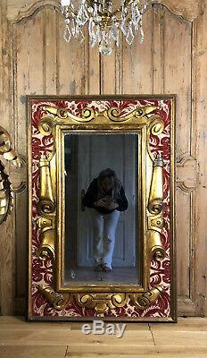 Miroir Ancien En Bois Doré Avec Velours De Gênes Style Baroque Italien