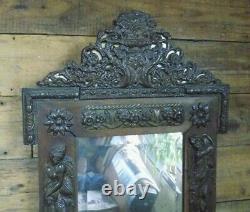 Miroir ancien style art nouveau cuivre repoussé