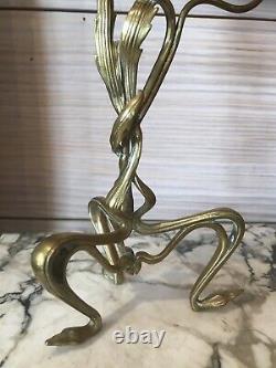 Paire De Bougeoires Florals De Style Art Deco Art Nouveau