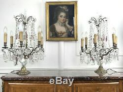 Paire De Girandolles (grand Modele) De Style Louis XV A 6 Bras De Lumieres