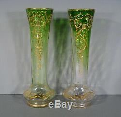 Paire De Vases Anciens En Verre Émaillé Style Art Nouveau Montjoye Legras