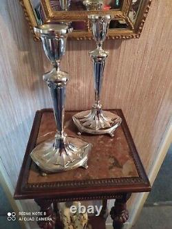 Paire de Bougeoirs Métal Argenté Style Art Nouveau