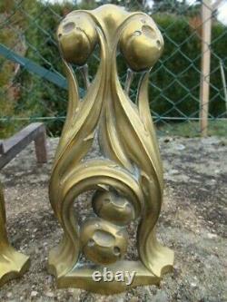 Paire de chenet art nouveau bronze style Hector Guimart antique French andiron