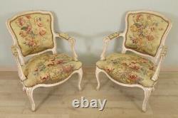 Paire de fauteuils Style Louis XV Tapisserie Aubusson