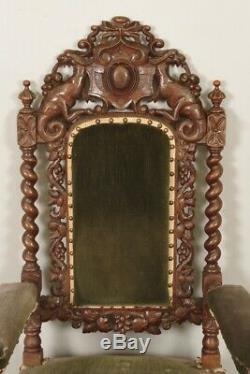 Paire de fauteuils torsadés style Louis XIII