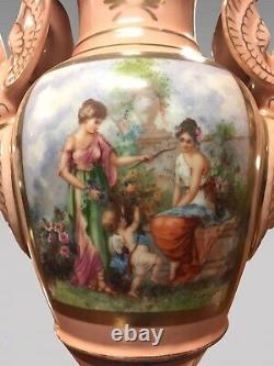 Paire de grands vases en porcelaine style Empire