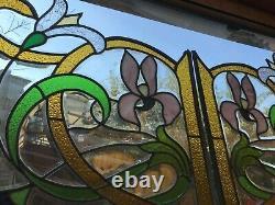 Paire de vitraux style art nouveau