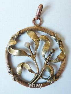 Pendentif en FIX ART NOUVEAU Modern Style vers 1900 gui Mistletoe