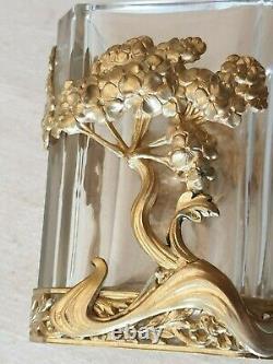 Petit vase quadrangulaire monture en métal doré Style art nouveau ht 8cm