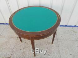 Petite Table Demi-lune (et De Jeu) Epoque 1900 De Style Empire En Acajou