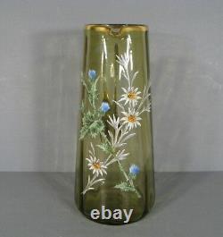 Pichet Ancien En Verre Émaillé Style Art Nouveau Epoque 1900 Montjoye Legras