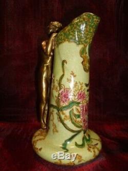 Pichet Cruche Figurine Fleur Style Art Deco Style Art Nouveau Porcelaine Bronze