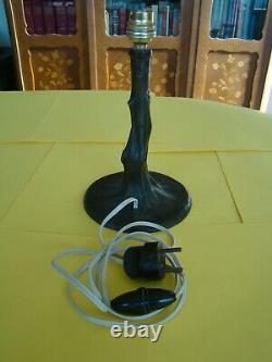 Pied de lampe ancien, style Art Nouveau, en bronze, en forme d'arbre #1026#