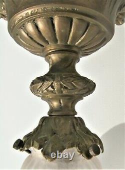 Plafonnier suspension 1900 Art nouveau Lustre bronze style Louis XVI