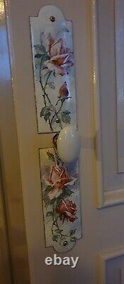 Plaques de propreté émaillées anciennes décor de fleurs anémones style C. Klein