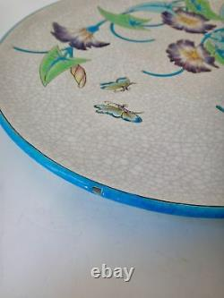 Plat en émaux de Longwy Les Récollets numéroté, style Art Nouveau