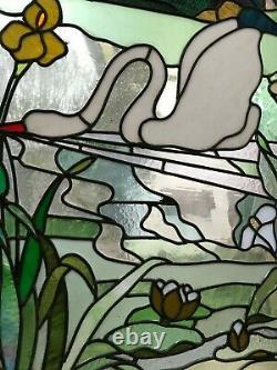 Porte en pin avec vitrail paysage style art nouveau