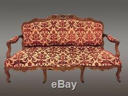 Salon noyer 4 fauteuils 1 canapé style Louis XV