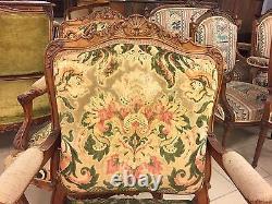Salon noyer 4 fauteuils 2 chaises style Louis XV