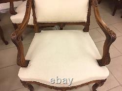 Salon noyer 4 fauteuils deux chaises style Louis XV
