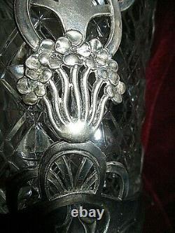 Seau a biscuits art nouveau 1900 jugensthil cristal et etain style guimard