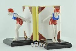 Serre-Livres Figurine Baigneuse Pin-up Sexy Plongeuse Style Art Deco Porcelaine