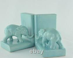 Serre-Livres Figurine Elephants Animalier Style Art Deco Porcelaine Emaux