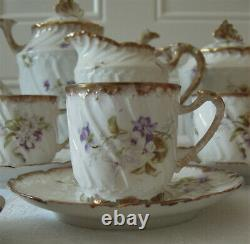 Service à café porcelaine de Limoges 1900 art nouveau style rocaille