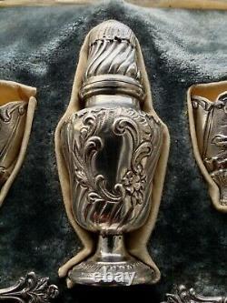 Splendide, salière, poivrière en argent massif de Style rocaille et Art Nouveau