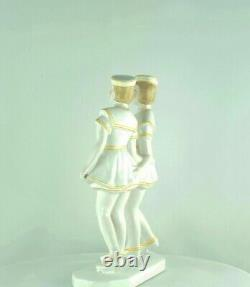 Statue Figurine Marin Marine Fille Style Art Deco Porcelaine Emaux