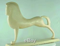Statue Figurine cheval Etrusque Animalier Style Art Deco Porcelaine Craquele