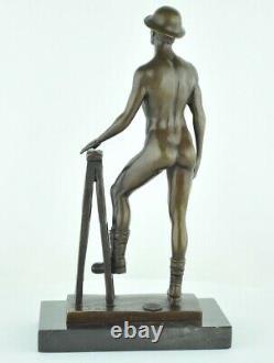 Statue Sculpture Athlete Sexy Style Art Deco Style Art Nouveau Bronze massif