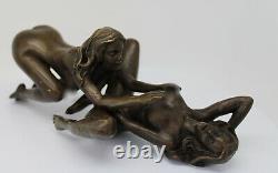 Statue Sculpture Couple Sexy Style Art Deco Style Art Nouveau Bronze massif Sign