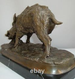 Statue Sculpture Sanglier Animalier Chasse Style Art Deco Style Art Nouveau Bron