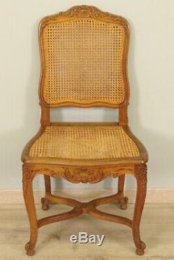 Suite de six chaises de salle à manger style Louis XV noyer