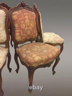 Suite de six chaises style Louis XV noyer