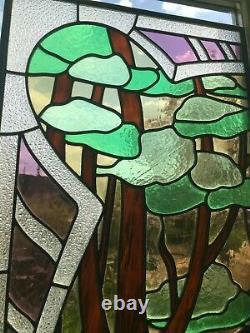 Superbe paire de vitraux style art nouveau