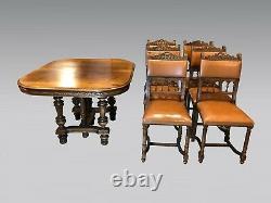 Table et six chaises de salle à manger style Henri II Renaissance noyer 1900