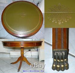 Table salle à manger ronde dessus cuir, style anglais en acajou, à rallonges