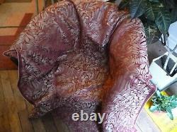 Tissu ameub. Damas bicolore, fond satin rouge style Art Nouveau Lelièvre L170x133