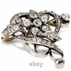 Um 1895 Antique Diamant Broche, Or & Argent Style Art Nouveau Diamants