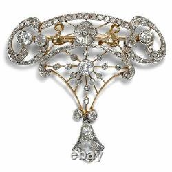 Um 1905 Platine & Diamant Broche, Style Art Nouveau / 750 Or