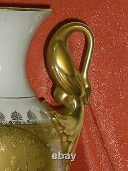 Vase A Balustre Col De Cygne Porcelaine Style Napoleon III Incruste Or