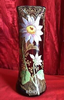 Vase Art Nouveau En Verre Émaillé Époque 1900 Décor De Fleurs Style Legras