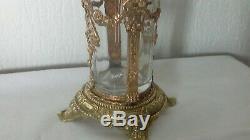 Vase En Cristal Grave Bronze Et Laiton Art Nouveau Fin 19 Eme Style Louix XVI