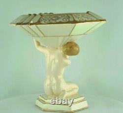 Vase Figurine Mata Hari Baigneuse Pin-up Sexy Style Art Deco Porcelaine Emaux